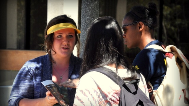 Cassandra Sanborn from Alaska engages pro-choice students at UC Irvine.