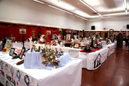 Tables with festive Christmas decorations - Right to Life Annual Christmas Dinner and Auction